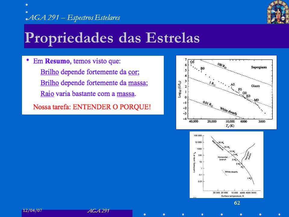 12/04/07 AGA 291 AGA 291 – Espectros Estelares 62 Propriedades das Estrelas 62