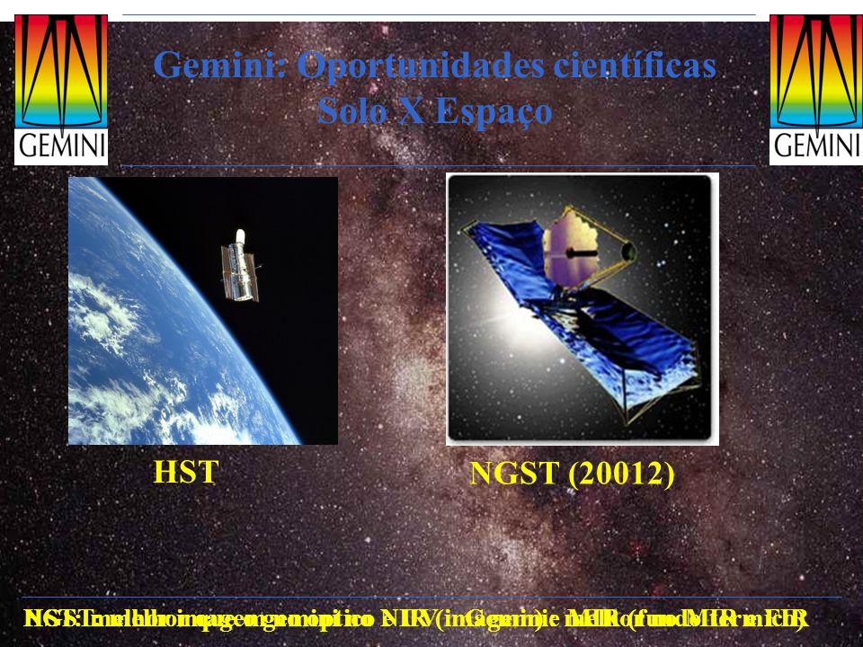 Gemini: Oportunidades científicas Solo X Espaço HST NGST (20012) HST: melhor imagem no optico e UV Gemini: melhor no MIR e FIRNGST: melhor que o gemin