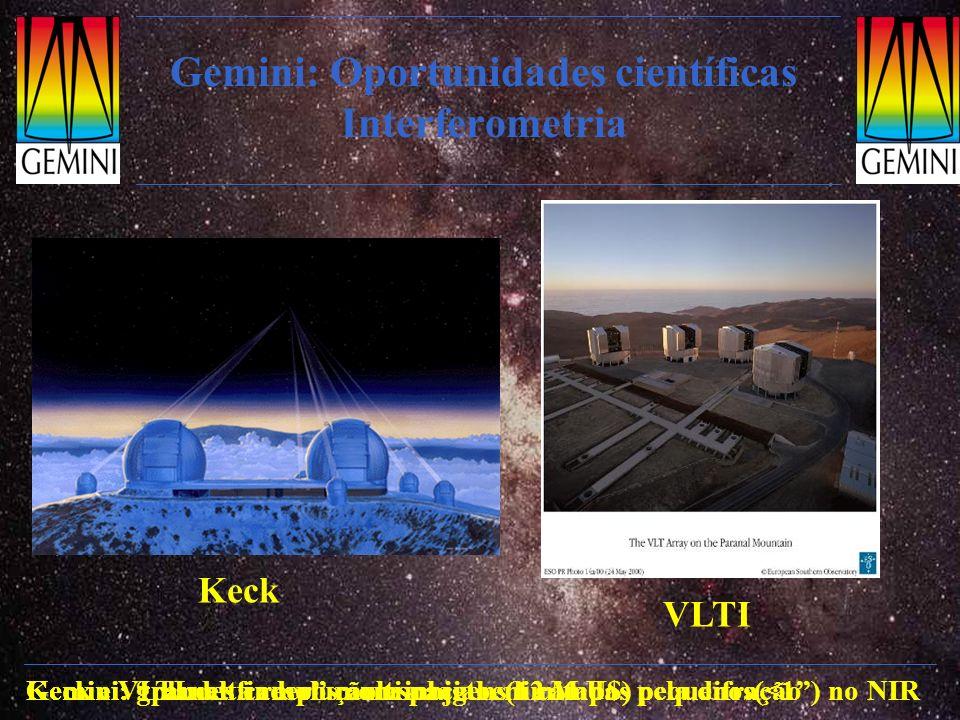 Gemini: Oportunidades científicas Interferometria Keck VLTI Keck e VLTI: alta resolução espacial em campos pequenos(<1) no NIRGemini: grandes campos c