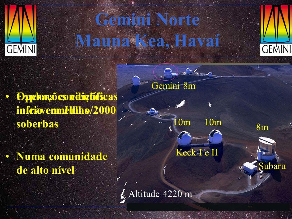 Gemini Norte Mauna Kea, Havaí Explora condições infravermelhas soberbas Numa comunidade de alto nível Operações científicas: início em Julho/2000 Alti