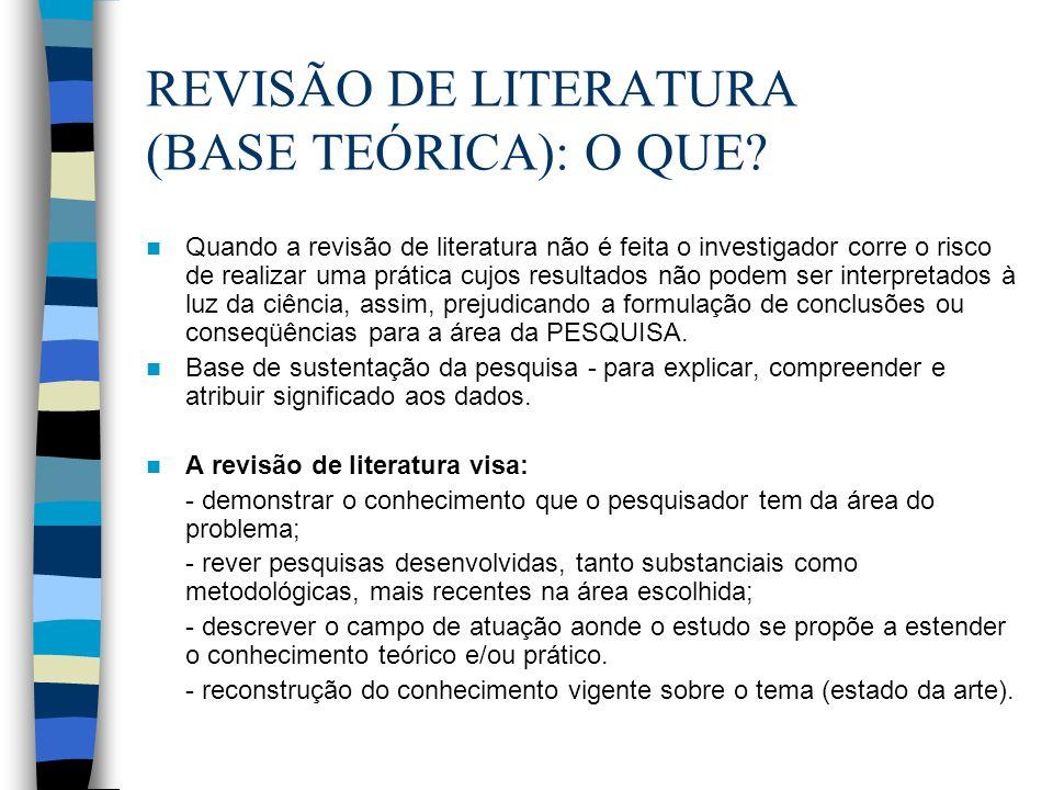 REVISÃO DE LITERATURA (BASE TEÓRICA): O QUE? Quando a revisão de literatura não é feita o investigador corre o risco de realizar uma prática cujos res