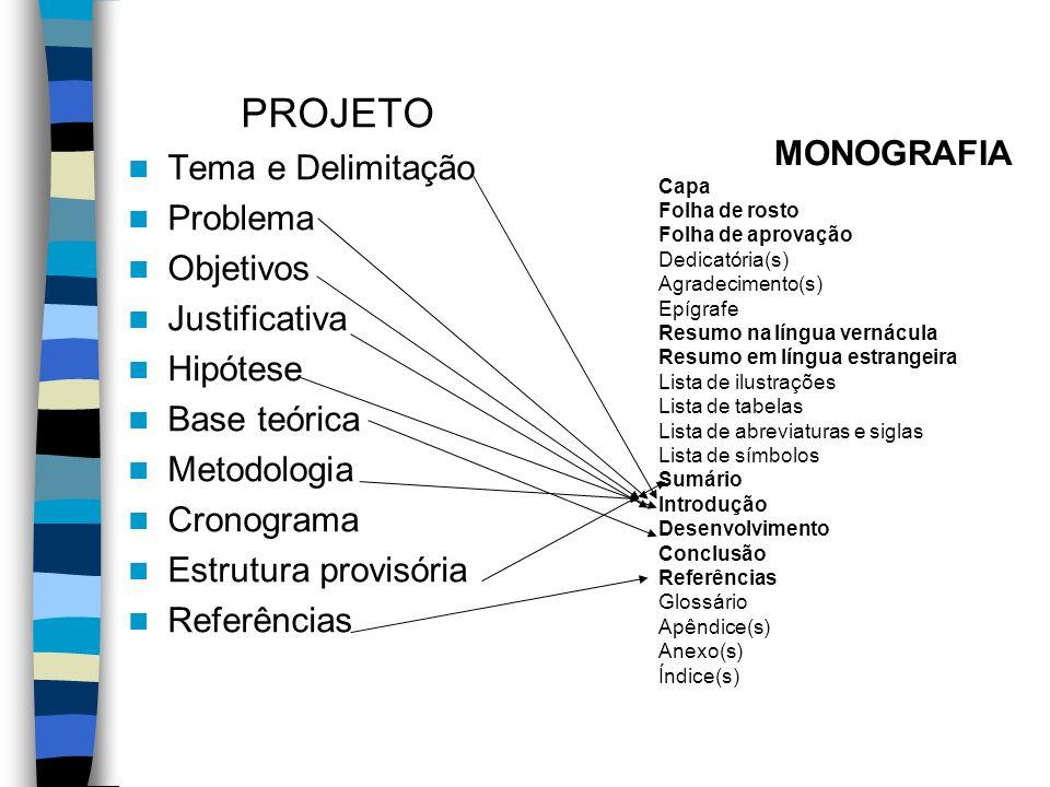 PROJETO Tema e Delimitação Problema Objetivos Justificativa Hipótese Base teórica Metodologia Cronograma Estrutura provisória Referências MONOGRAFIA C
