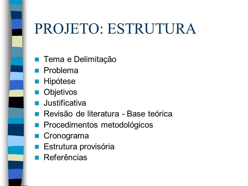 PROJETO: ESTRUTURA Tema e Delimitação Problema Hipótese Objetivos Justificativa Revisão de literatura - Base teórica Procedimentos metodológicos Crono