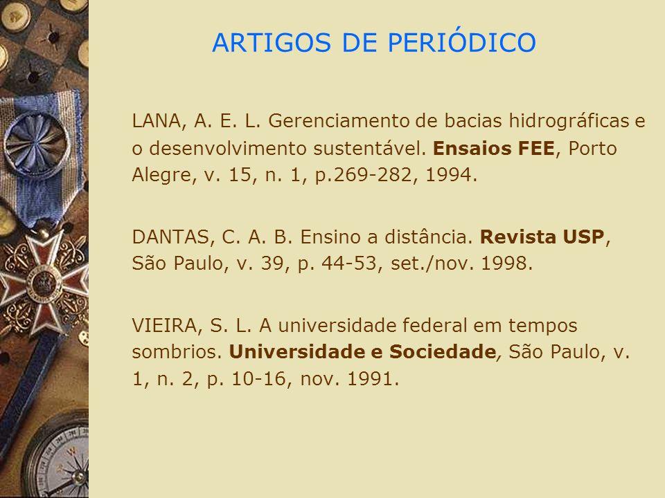 ARTIGOS DE PERIÓDICO LANA, A. E. L.