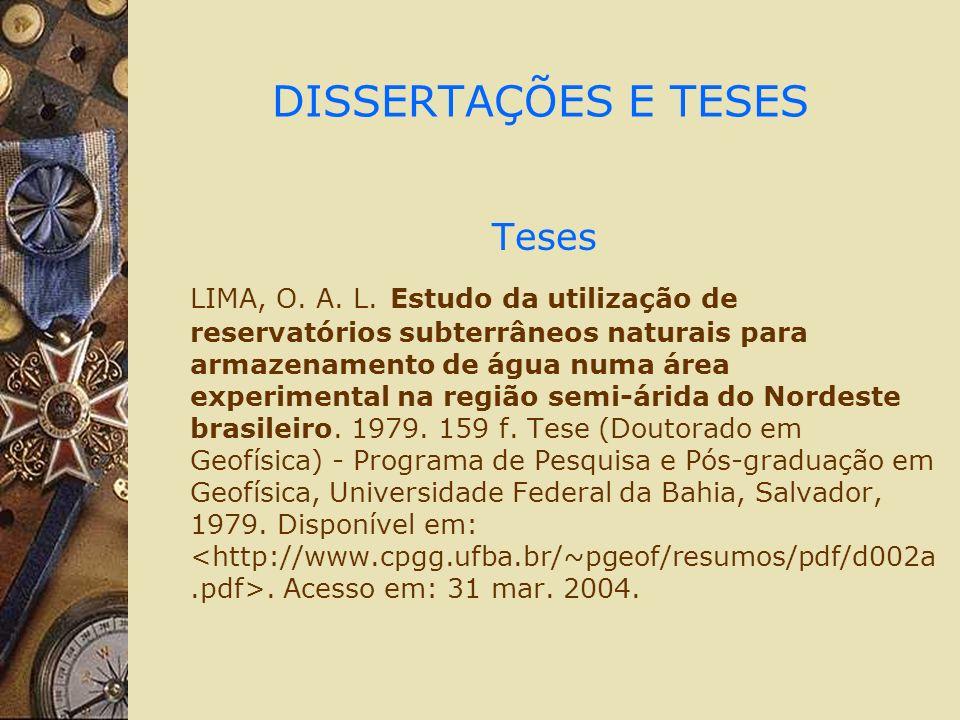 DISSERTAÇÕES E TESES Teses LIMA, O. A. L.