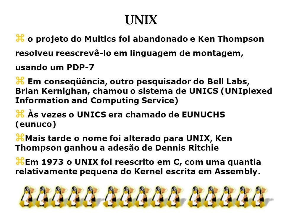 o projeto do Multics foi abandonado e Ken Thompson resolveu reescrevê-lo em linguagem de montagem, usando um PDP-7 Em conseqüência, outro pesquisador