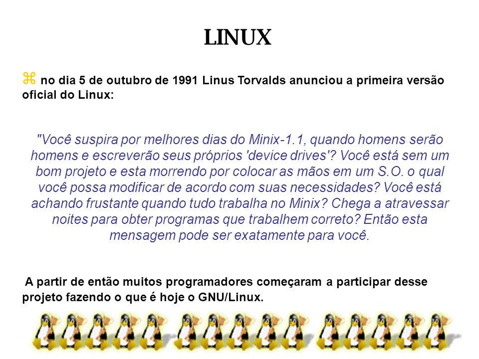 no dia 5 de outubro de 1991 Linus Torvalds anunciou a primeira versão oficial do Linux: