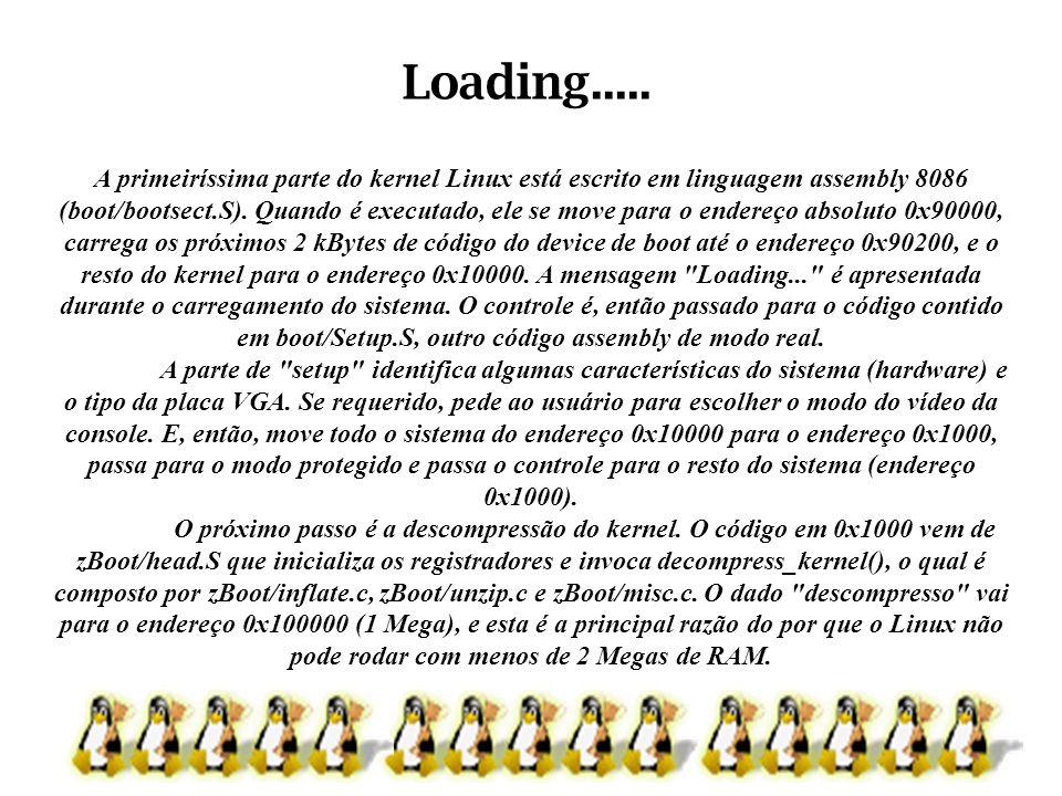 A primeiríssima parte do kernel Linux está escrito em linguagem assembly 8086 (boot/bootsect.S). Quando é executado, ele se move para o endereço absol