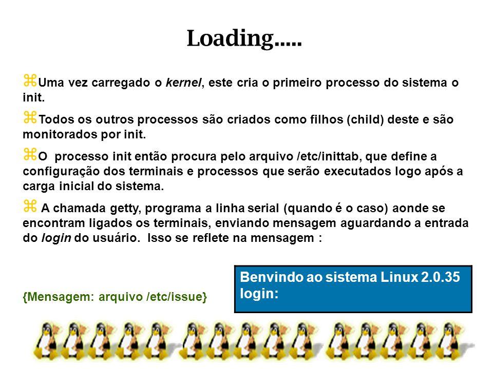 Uma vez carregado o kernel, este cria o primeiro processo do sistema o init. Todos os outros processos são criados como filhos (child) deste e são mon