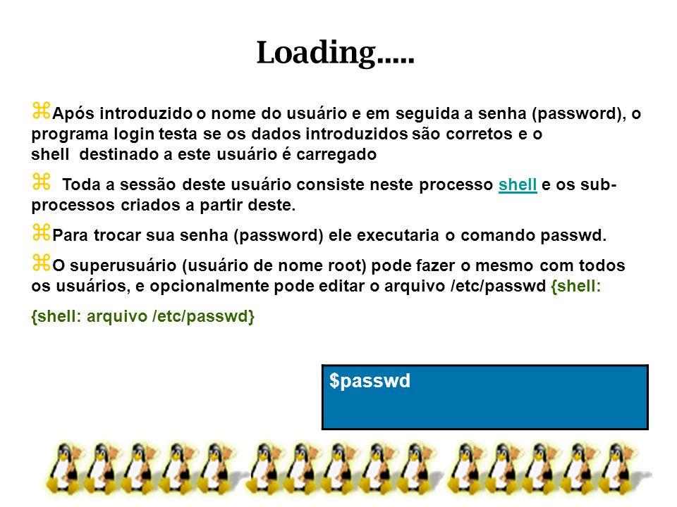 Após introduzido o nome do usuário e em seguida a senha (password), o programa login testa se os dados introduzidos são corretos e o shell destinado a