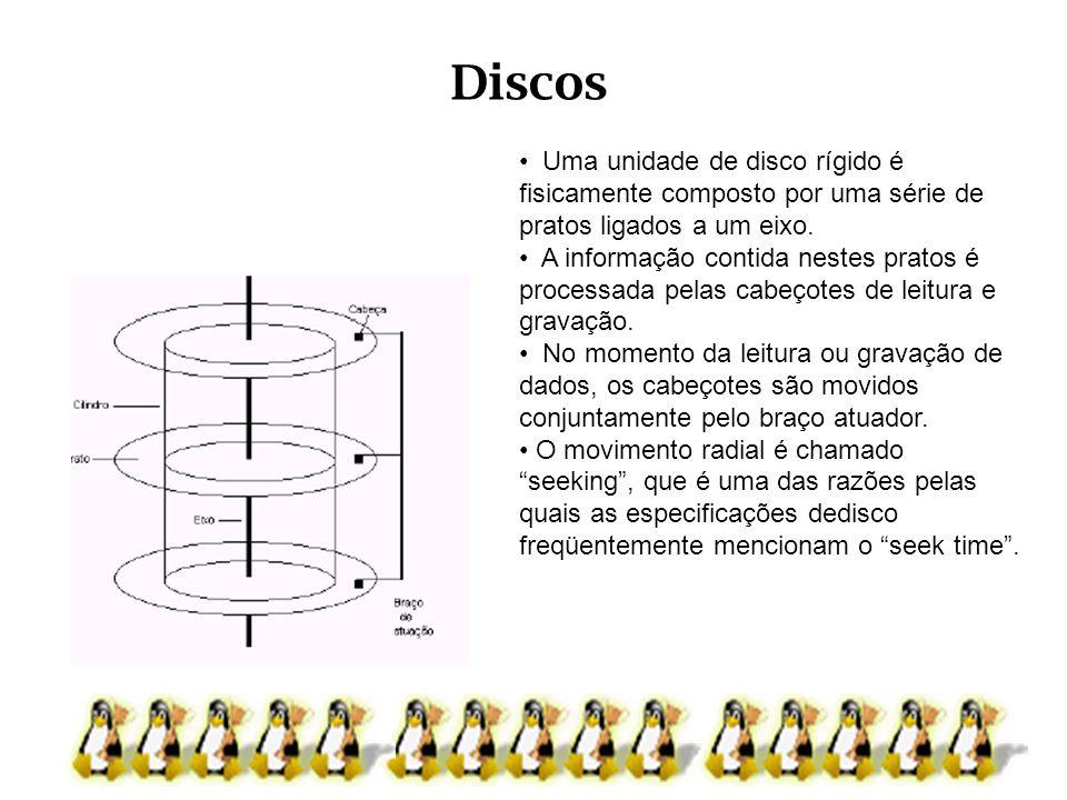 Discos Uma unidade de disco rígido é fisicamente composto por uma série de pratos ligados a um eixo. A informação contida nestes pratos é processada p