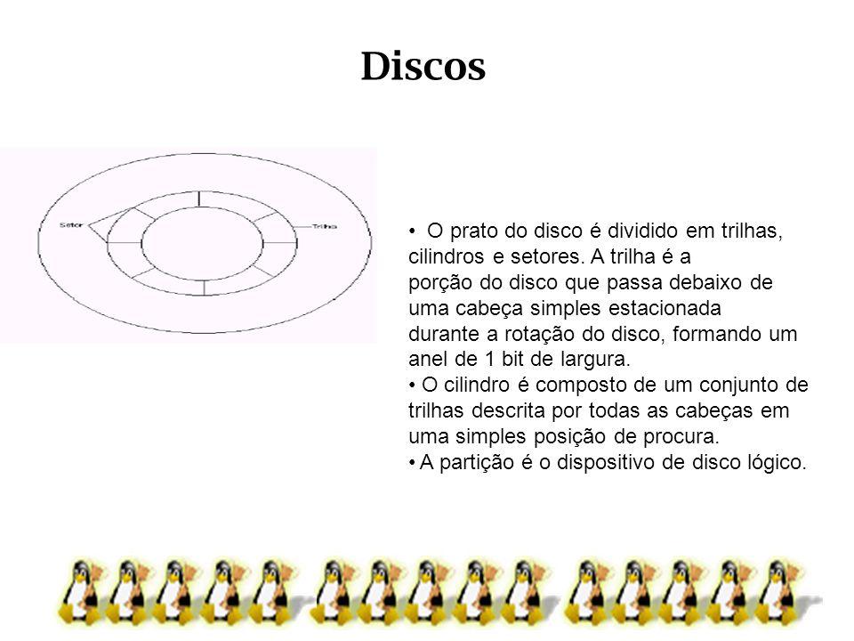 Discos O prato do disco é dividido em trilhas, cilindros e setores. A trilha é a porção do disco que passa debaixo de uma cabeça simples estacionada d