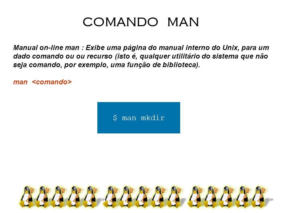 Manual on-line man : Exibe uma página do manual interno do Unix, para um dado comando ou ou recurso (isto é, qualquer utilitário do sistema que não se