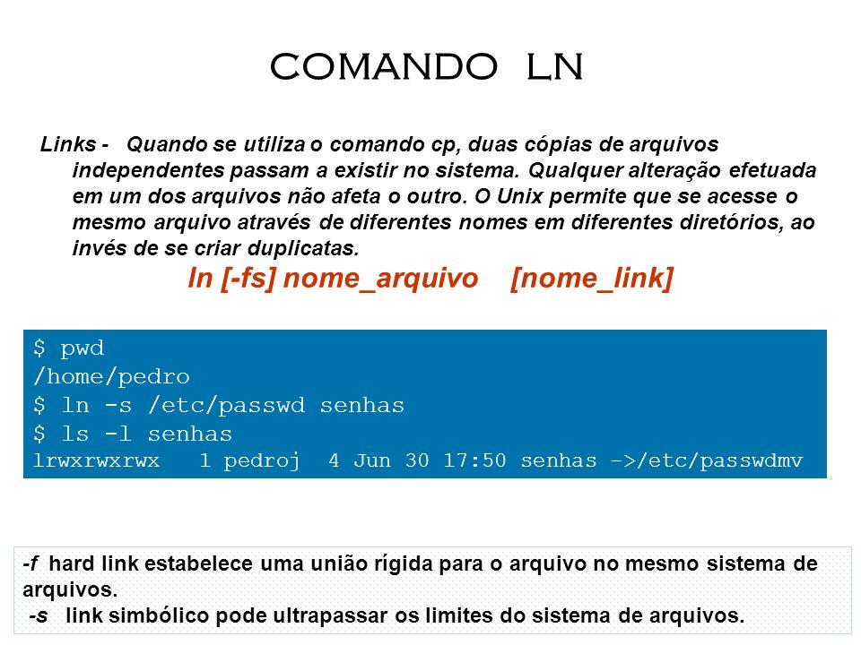 Links - Quando se utiliza o comando cp, duas cópias de arquivos independentes passam a existir no sistema. Qualquer alteração efetuada em um dos arqui