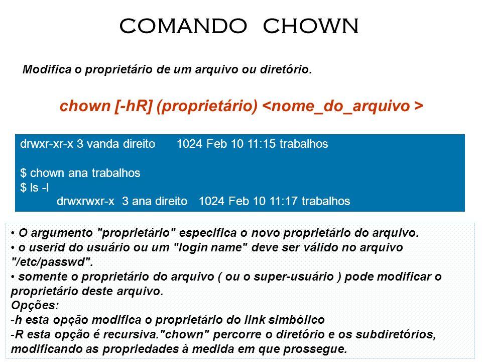 Modifica o proprietário de um arquivo ou diretório. chown [-hR] (proprietário) COMANDO CHOWN O argumento