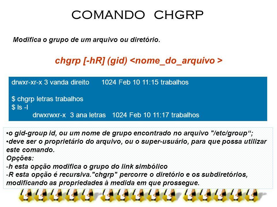 Modifica o grupo de um arquivo ou diretório. chgrp [-hR] (gid) COMANDO CHGRP o gid-group id, ou um nome de grupo encontrado no arquivo