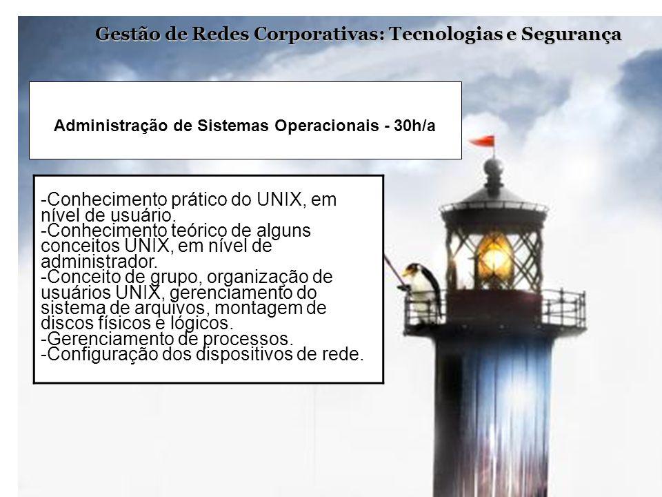 Gestão de Redes Corporativas: Tecnologias e Segurança -Conhecimento prático do UNIX, em nível de usuário. -Conhecimento teórico de alguns conceitos UN