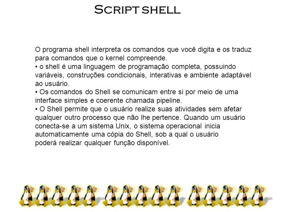3 Script shell Nome ShellDesenvolvido porOndeComentários BASH ( Bourne- Again SHell ) Brian Fox and Chet Ramey Free Software Foundation Shell mais utilizado nas versões linux, é o shell padrão do Unix.