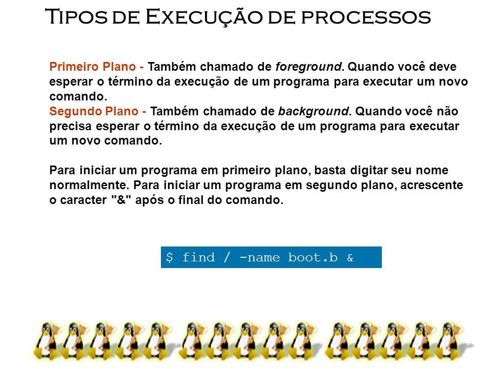 11 Tipos de Execução de processos Primeiro Plano - Também chamado de foreground. Quando você deve esperar o término da execução de um programa para ex