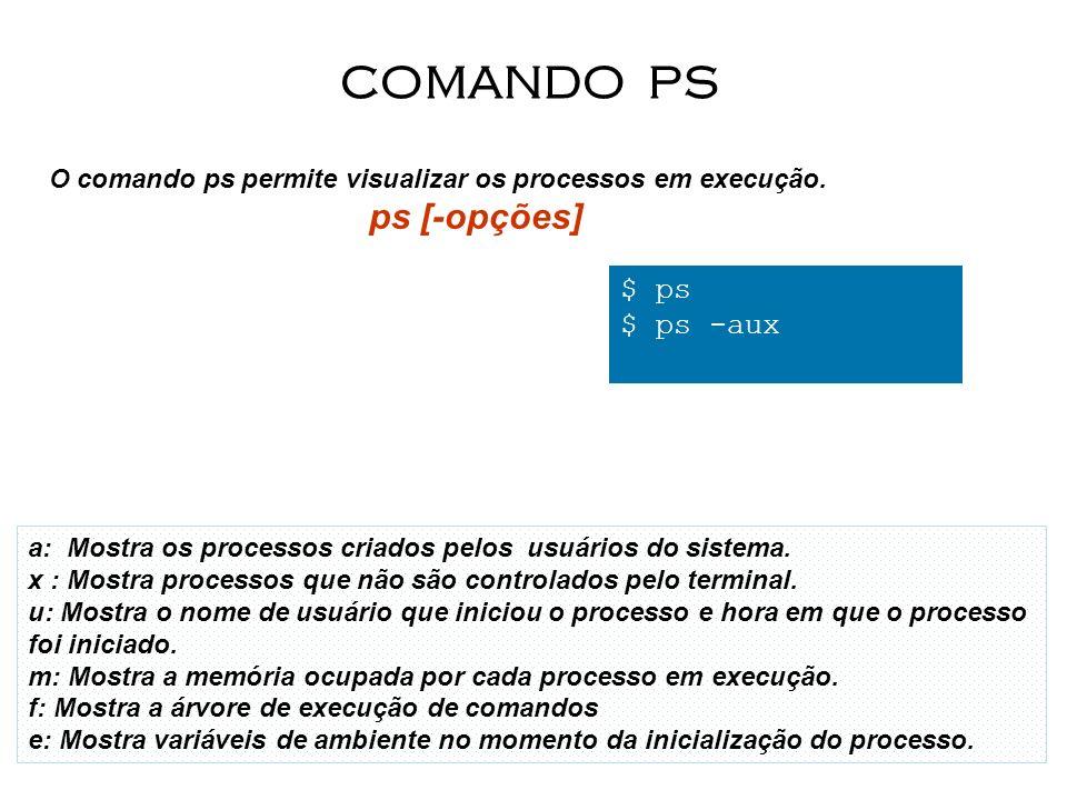 12 O comando ps permite visualizar os processos em execução. ps [-opções] COMANDO PS $ ps $ ps -aux a: Mostra os processos criados pelos usuários do s