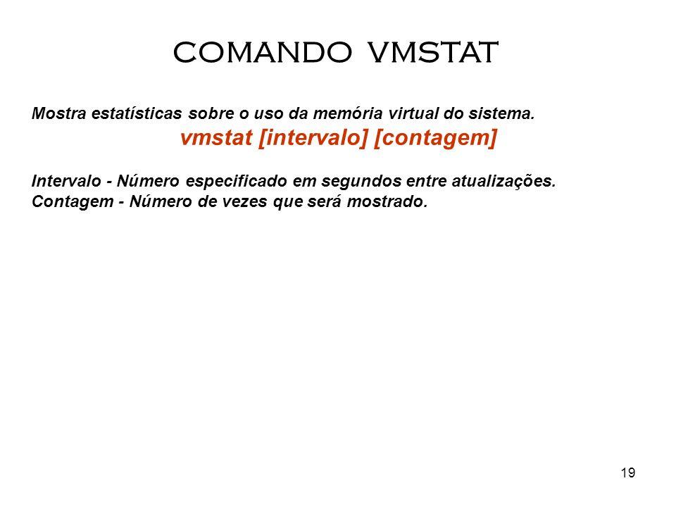 19 Mostra estatísticas sobre o uso da memória virtual do sistema. vmstat [intervalo] [contagem] Intervalo - Número especificado em segundos entre atua