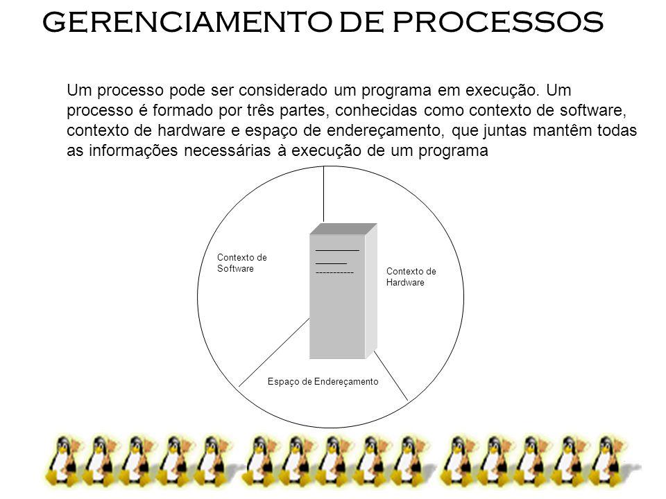 2 GERENCIAMENTO DE PROCESSOS Um processo pode ser considerado um programa em execução. Um processo é formado por três partes, conhecidas como contexto