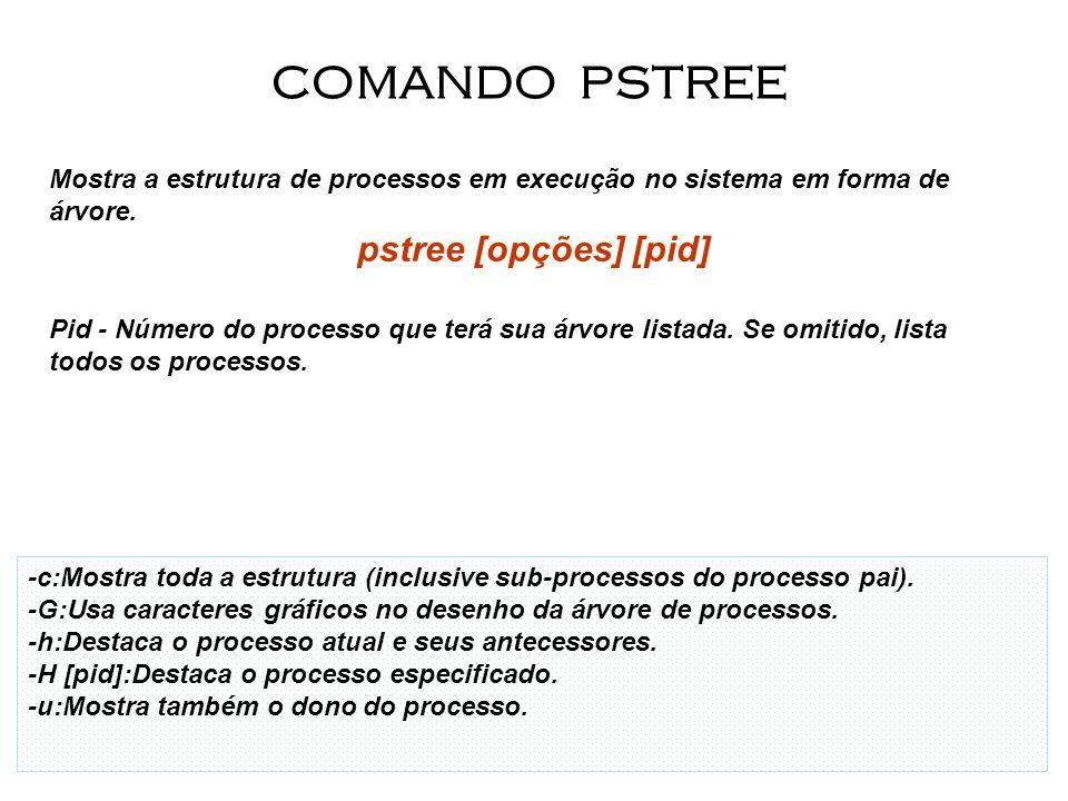21 Mostra a estrutura de processos em execução no sistema em forma de árvore. pstree [opções] [pid] Pid - Número do processo que terá sua árvore lista