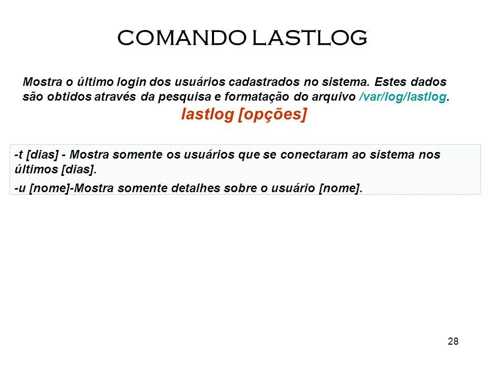 28 Mostra o último login dos usuários cadastrados no sistema. Estes dados são obtidos através da pesquisa e formatação do arquivo /var/log/lastlog. la