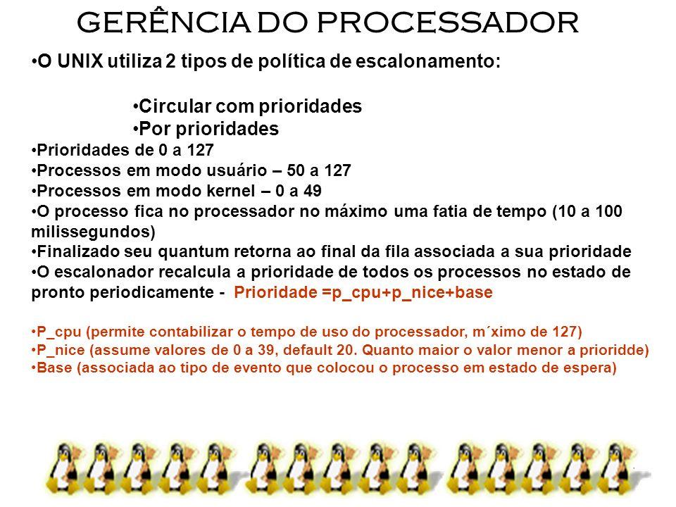 5 GERÊNCIA DO PROCESSADOR O UNIX utiliza 2 tipos de política de escalonamento: Circular com prioridades Por prioridades Prioridades de 0 a 127 Process