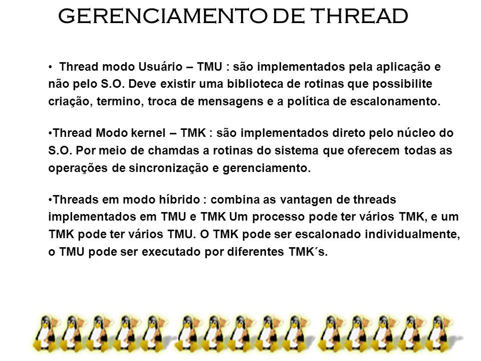 9 GERENCIAMENTO DE THREAD Thread modo Usuário – TMU : são implementados pela aplicação e não pelo S.O. Deve existir uma biblioteca de rotinas que poss