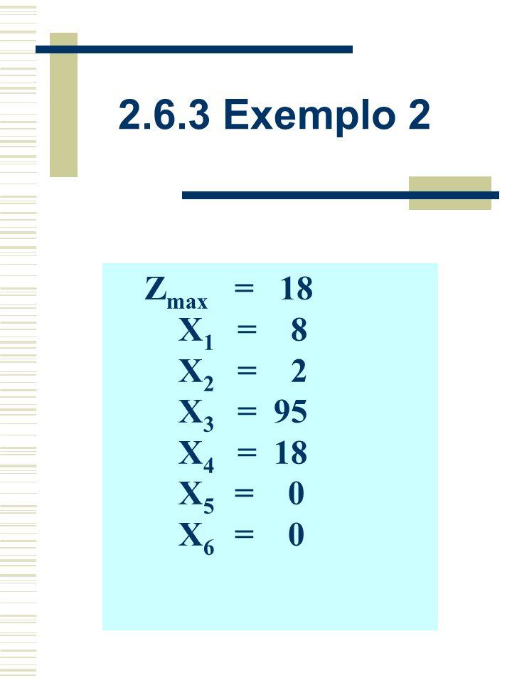 2.6.3 Exemplo 2 VBX1X1 X2X2 X3X3 X4X4 X5X5 X6X6 bibi X3X3 0010-152595 X4X4 0001-5618 X2X2 010012 X1X1 1000018 Z00001118