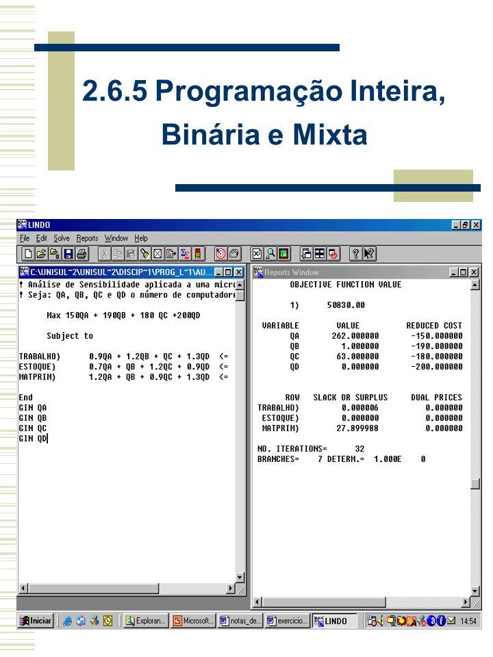2.6.5 Programação Inteira, Binária e Mista Programação Inteira: Resultados inteiros (Lindo GIN X 1 ); Programação Binária: Resultados binários 0/1 (Lindo INT X 1 ); Programação Mista: Resultados inteiros e binários (Lindo GIN X 1 e INT X 2 ).