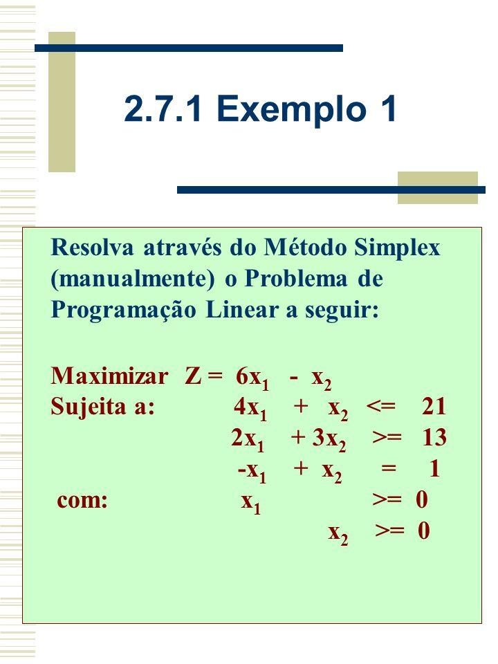 2.7 Problemas especiais de Programação Linear Para as restrições > = e/ou = são consideradas variáveis de folga e artificiais. O algoritmo é utilizado