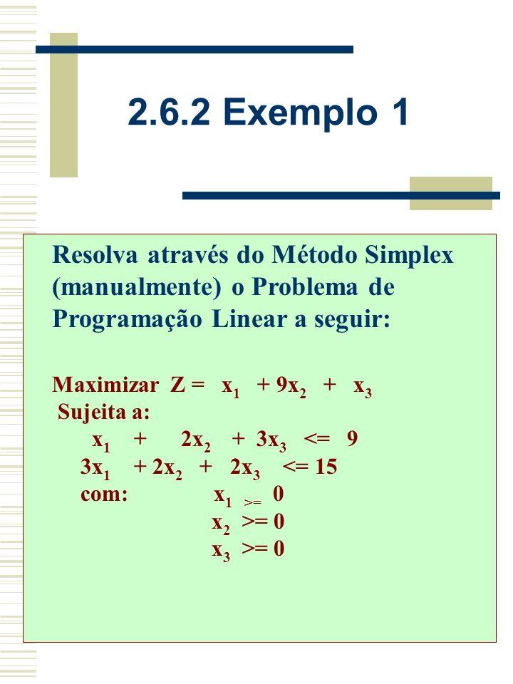 i) Localize o número mais negativo da última linha do quadro Simplex (coluna de trabalho); ii) Forme quocientes de divisão da última coluna por cada n