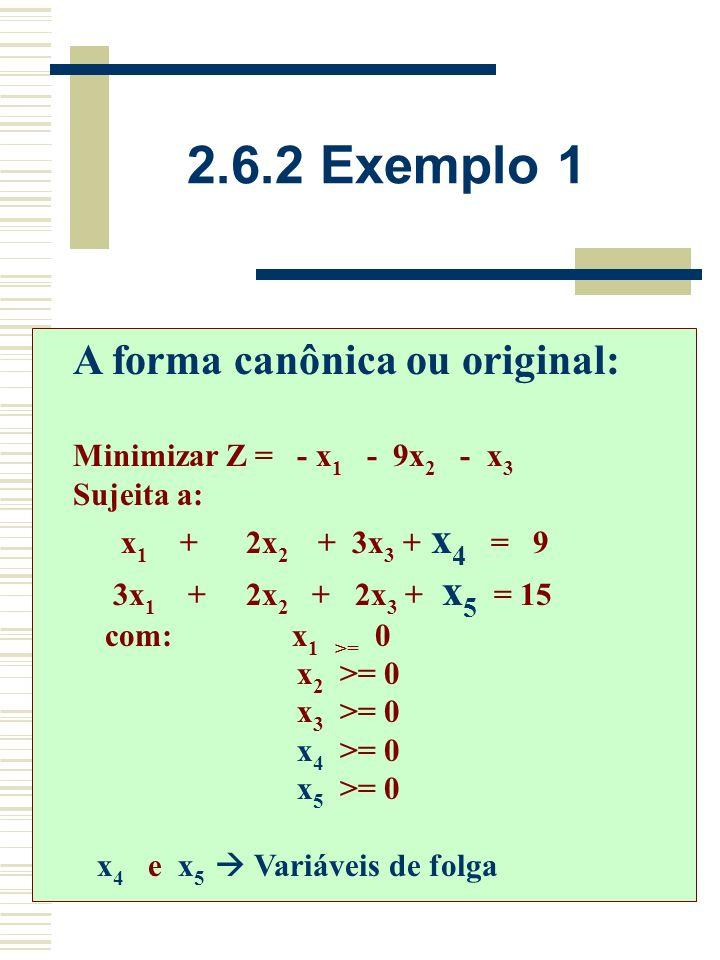2.6.2 Exemplo 1 Resolva através do Método Simplex (manualmente) o Problema de Programação Linear a seguir: Maximizar Z = x 1 + 9x 2 + x 3 Sujeita a: x 1 + 2x 2 + 3x 3 <= 9 3x 1 + 2x 2 + 2x 3 <= 15 com: x 1 >= 0 x 2 >= 0 x 3 >= 0