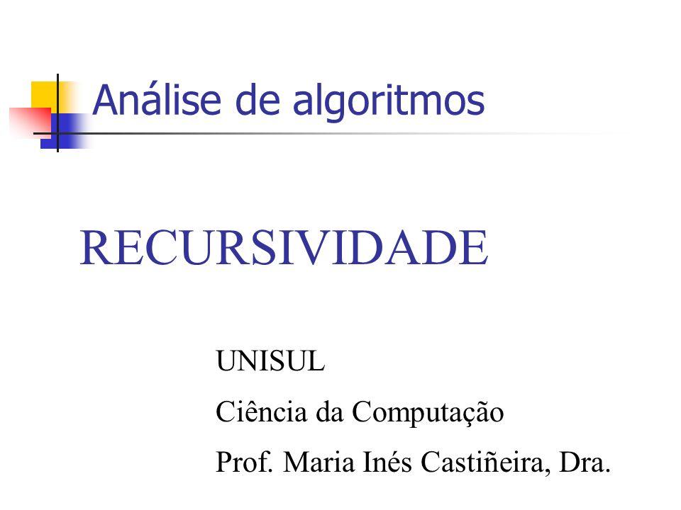 Análise de algoritmos RECURSIVIDADE UNISUL Ciência da Computação Prof. Maria Inés Castiñeira, Dra.