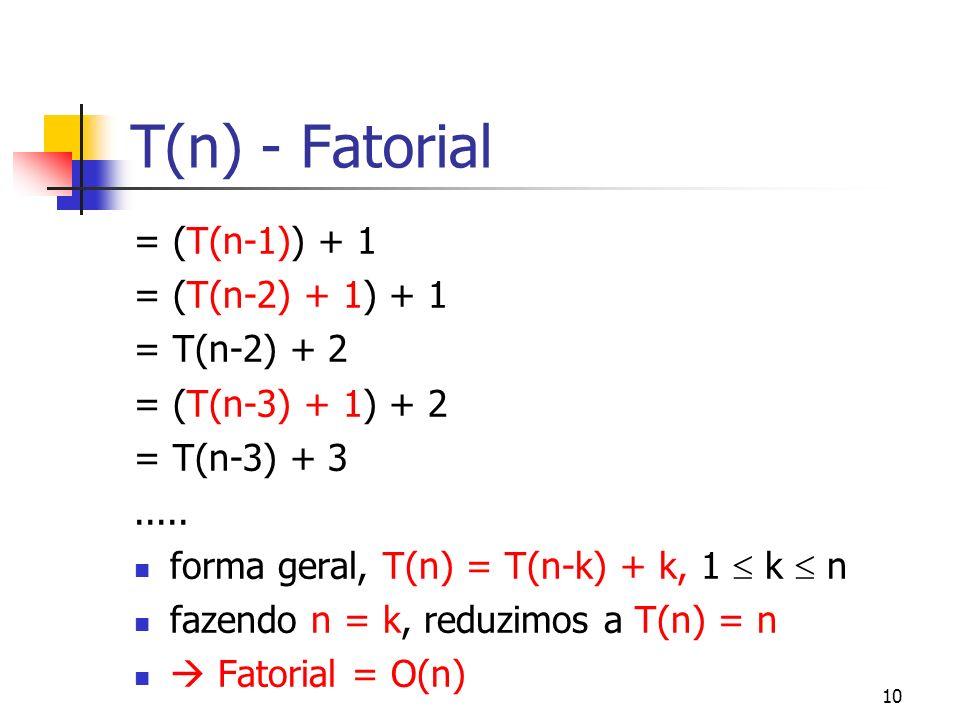 10 T(n) - Fatorial = (T(n-1)) + 1 = (T(n-2) + 1) + 1 = T(n-2) + 2 = (T(n-3) + 1) + 2 = T(n-3) + 3..... forma geral, T(n) = T(n-k) + k, 1 k n fazendo n