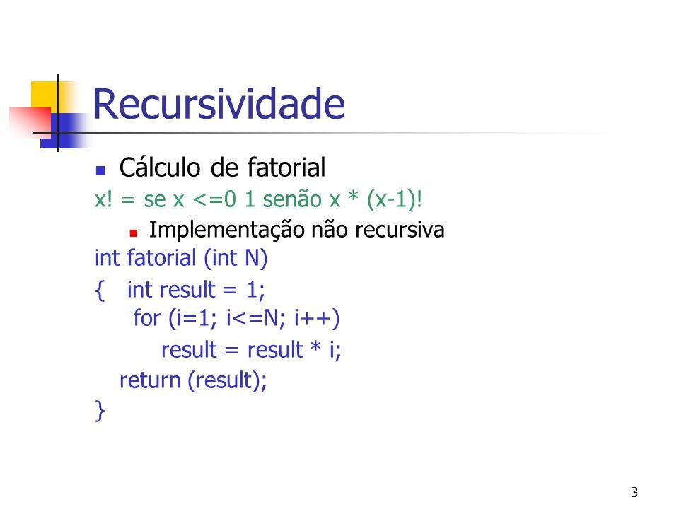 3 Recursividade Cálculo de fatorial x! = se x <=0 1 senão x * (x-1)! Implementação não recursiva int fatorial (int N) { int result = 1; for (i=1; i<=N