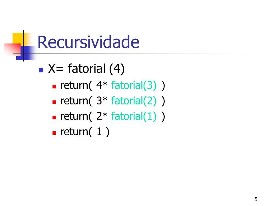 5 Recursividade X= fatorial (4) return( 4* fatorial(3) ) return( 3* fatorial(2) ) return( 2* fatorial(1) ) return( 1 )