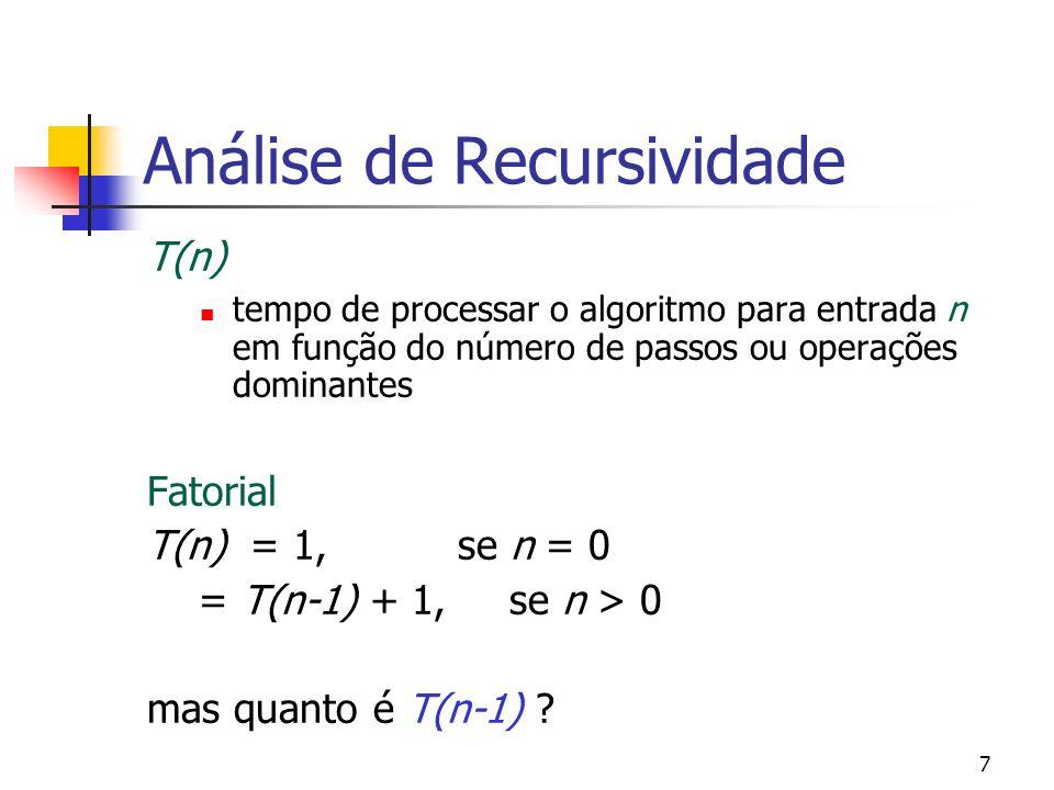 7 Análise de Recursividade T(n) tempo de processar o algoritmo para entrada n em função do número de passos ou operações dominantes Fatorial T(n) = 1,