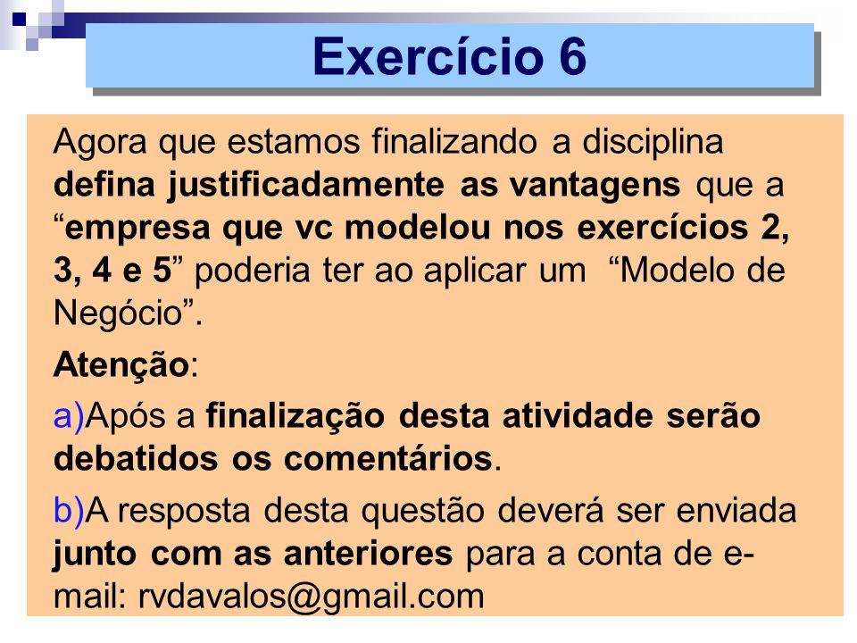 Agora que estamos finalizando a disciplina defina justificadamente as vantagens que aempresa que vc modelou nos exercícios 2, 3, 4 e 5 poderia ter ao