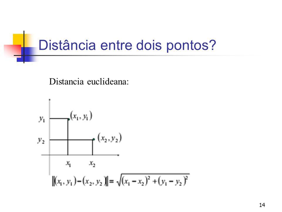 14 Distância entre dois pontos? Distancia euclideana: