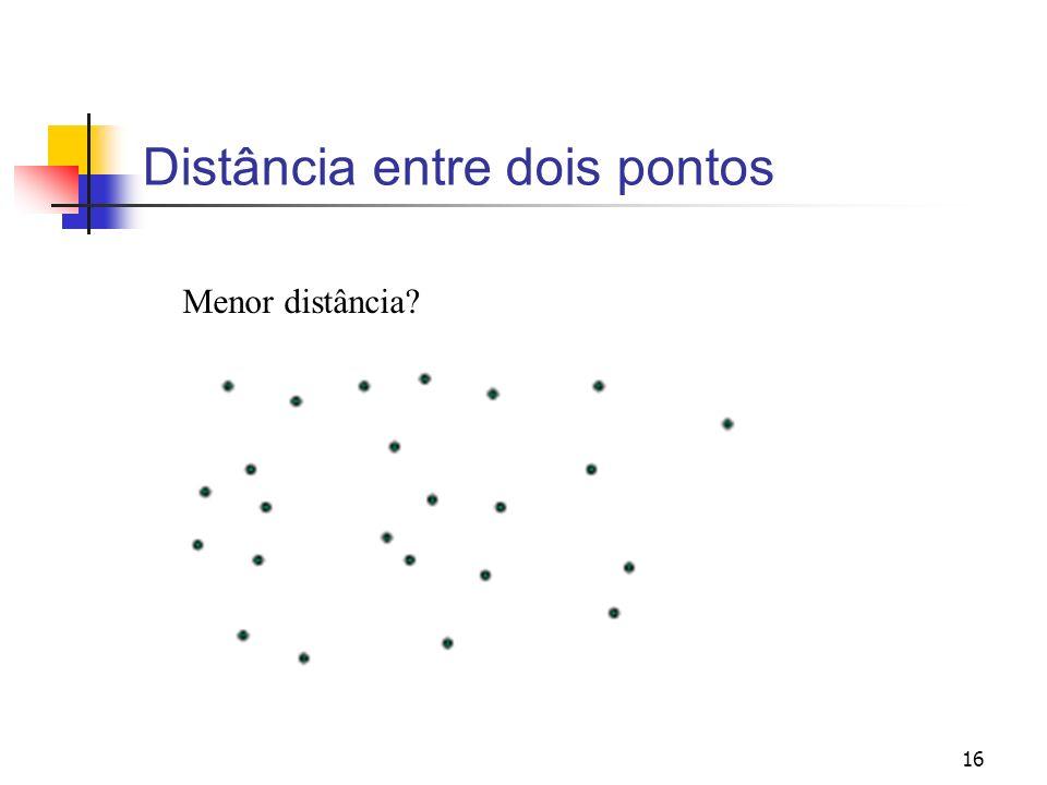 16 Distância entre dois pontos Menor distância?