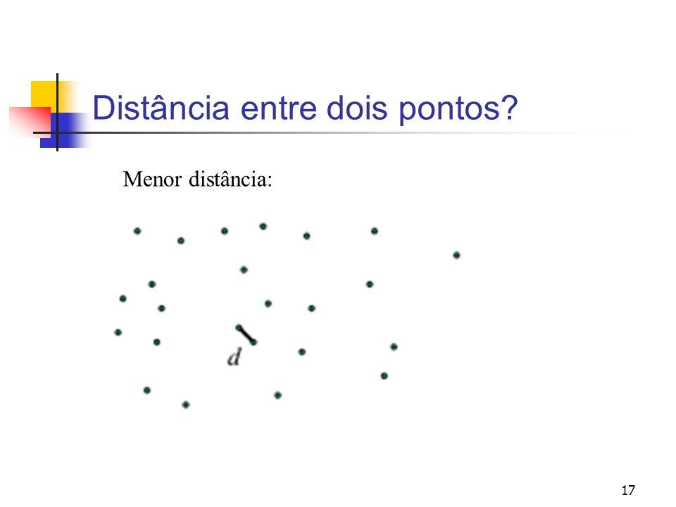 17 Distância entre dois pontos? Menor distância: