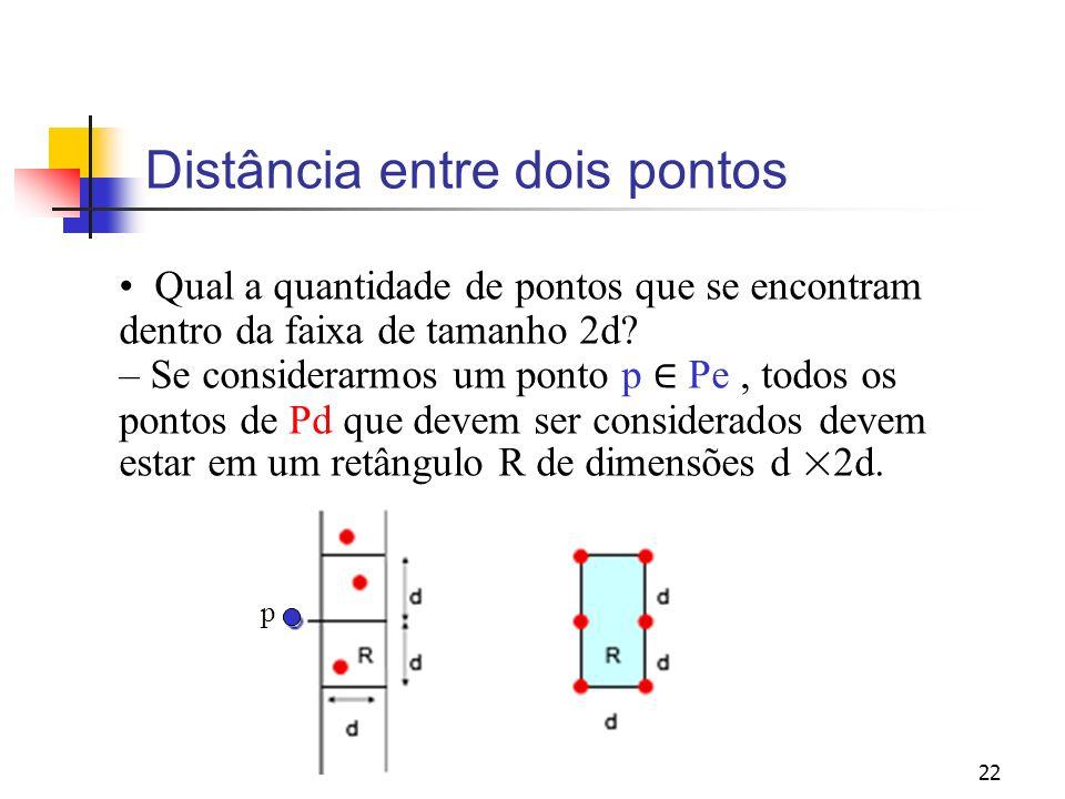 22 Distância entre dois pontos Qual a quantidade de pontos que se encontram dentro da faixa de tamanho 2d? – Se considerarmos um ponto p Pe, todos os
