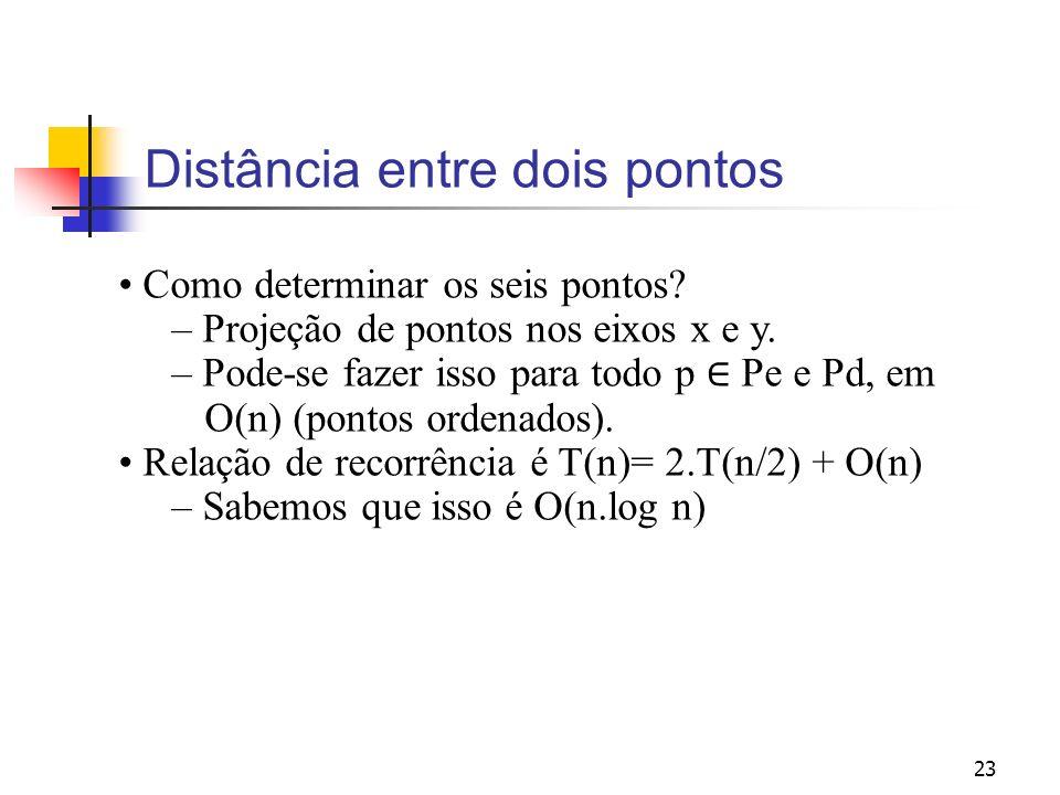 23 Distância entre dois pontos Como determinar os seis pontos? – Projeção de pontos nos eixos x e y. – Pode-se fazer isso para todo p Pe e Pd, em O(n)