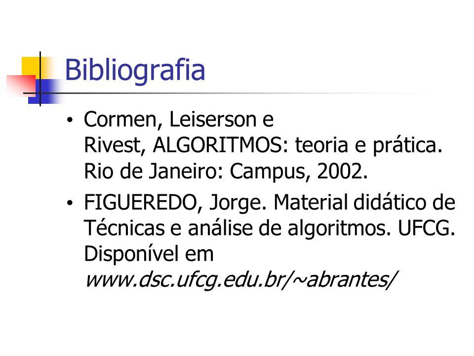 Bibliografia Cormen, Leiserson e Rivest, ALGORITMOS: teoria e prática. Rio de Janeiro: Campus, 2002. FIGUEREDO, Jorge. Material didático de Técnicas e