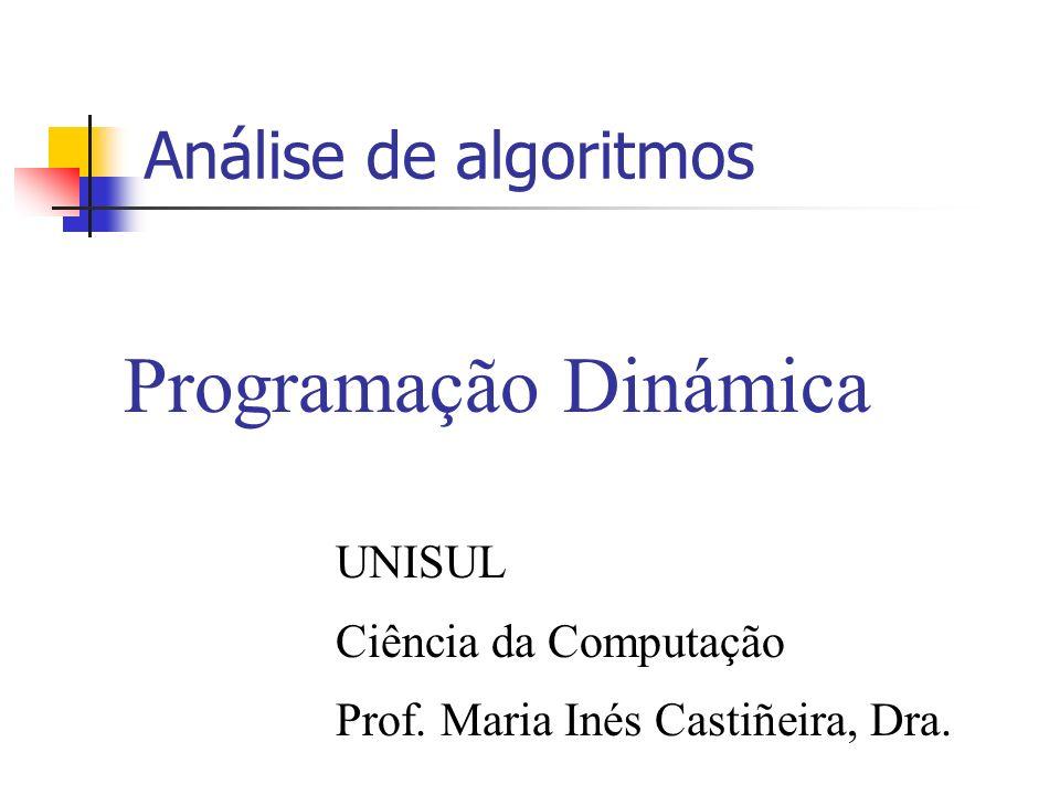Análise de algoritmos Programação Dinámica UNISUL Ciência da Computação Prof. Maria Inés Castiñeira, Dra.