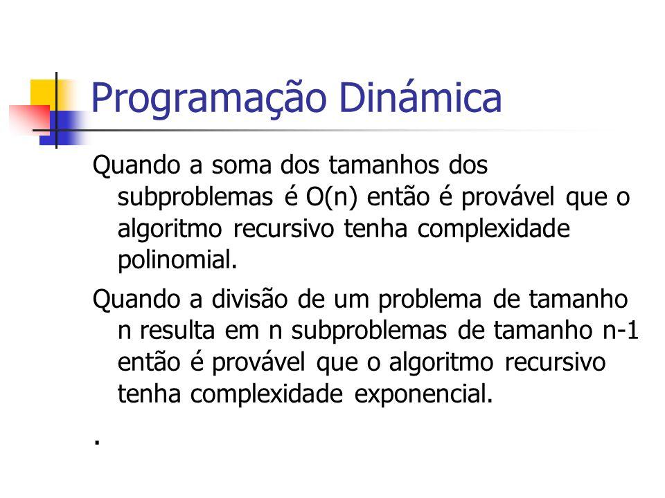 Programação Dinámica Quando a soma dos tamanhos dos subproblemas é O(n) então é provável que o algoritmo recursivo tenha complexidade polinomial. Quan