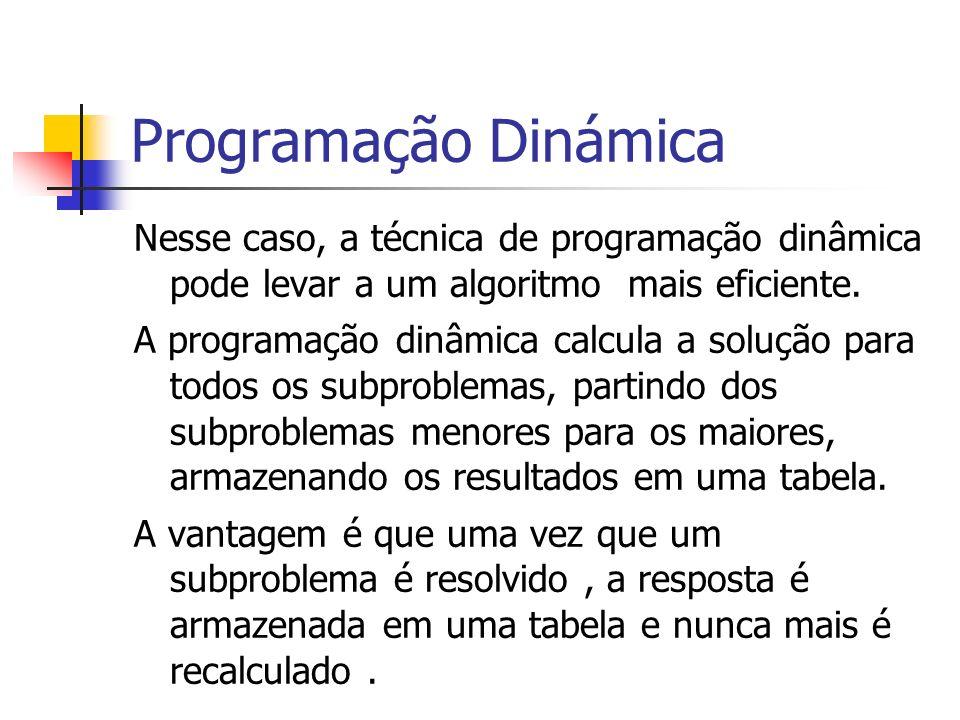 Programação Dinámica Nesse caso, a técnica de programação dinâmica pode levar a um algoritmo mais eficiente. A programação dinâmica calcula a solução